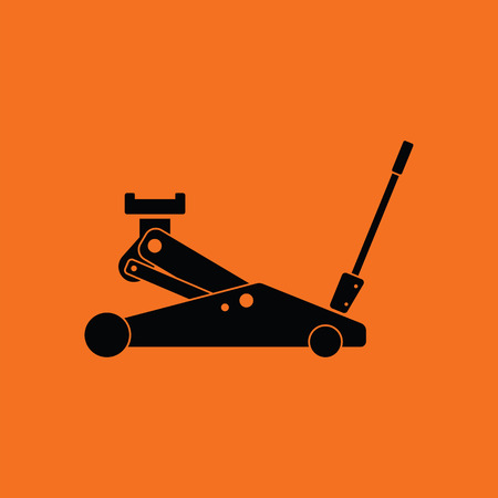 lifting jack: Hydraulic jack icon. Orange background with black. Vector illustration.