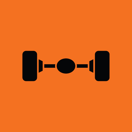 traction: Car rear axle icon. Orange background with black. Vector illustration.
