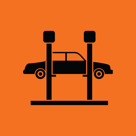 car lift: Car lift icon. Orange background with black. Vector illustration.
