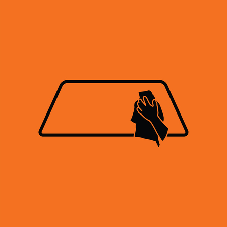 waxing: Wipe car window icon. Orange background with black. Vector illustration.