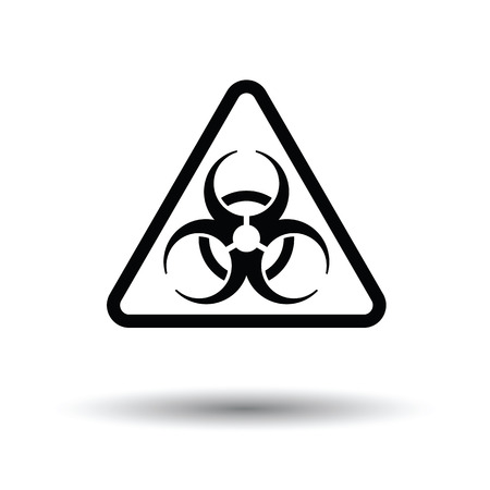 Icon of biohazard. White background with shadow design. Vector illustration.