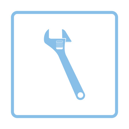 adjustable: Adjustable wrench  icon. Blue frame design. Vector illustration.