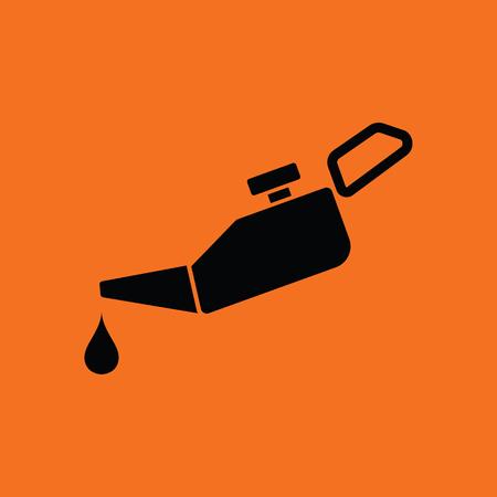 Oil canister icon. Orange background with black. Vector illustration. Stock Illustratie