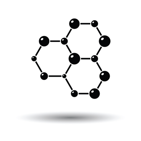 Icon of chemistry hexa connection of atoms. White background with shadow design. Vector illustration.