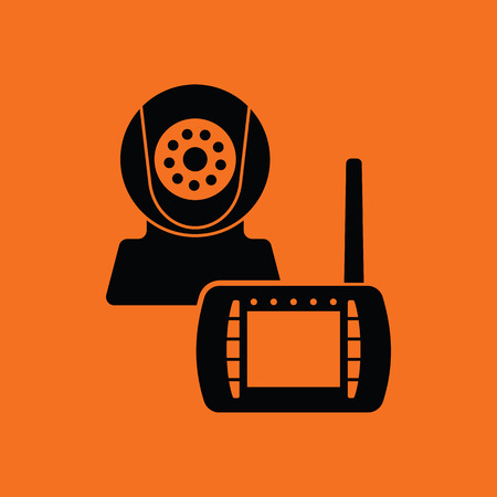 Baby monitor icon. Orange background with black. Vector illustration.