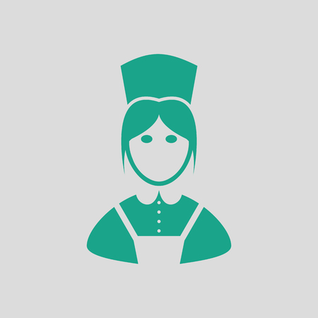 hotel staff: Hotel maid icon. Gray background with green. Vector illustration.