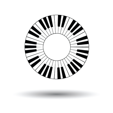 Piano circle keyboard icon. White background with shadow design. Vector illustration. 向量圖像