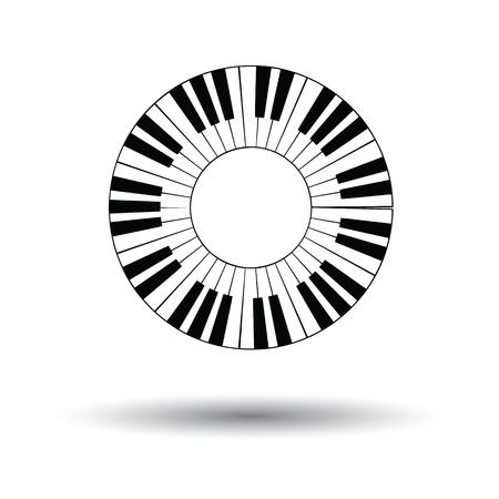 Piano cirkel toetsenbord icoon. Witte achtergrond met schaduw design. Vector illustratie.
