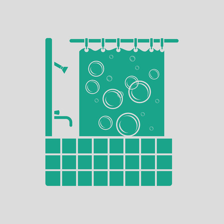 hotel rooms: Hotel bathroom icon. Gray background with green. Vector illustration.