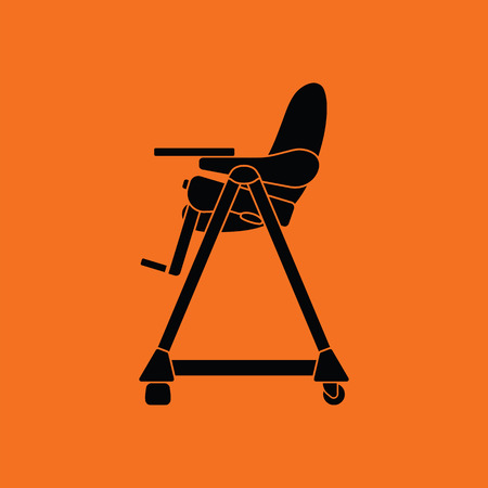 high chair: Baby high chair icon. Orange background with black. Vector illustration.
