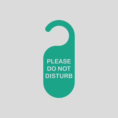 disturbance: Dont disturb tag icon. Gray background with green. Vector illustration.