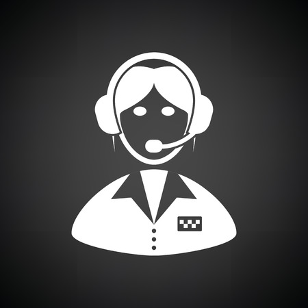 dispatcher: Taxi dispatcher icon. Black background with white. Vector illustration. Illustration