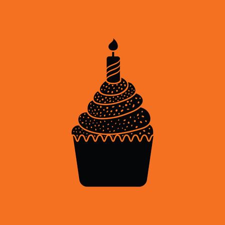 orange cake: First birthday cake icon. Orange background with black. Vector illustration. Illustration