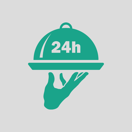 hotel rooms: 24 hour room service icon. Gray background with green. Vector illustration.