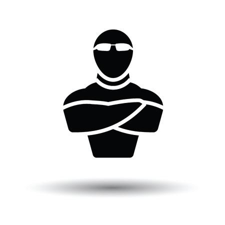 Discotheek beveiliging icoon. Witte achtergrond met schaduw design. Vector illustratie.