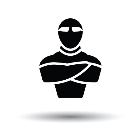 serious business: Night club security icon. White background with shadow design. Vector illustration.