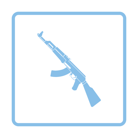 Russian weapon rifle icon. Blue frame design. Vector illustration.