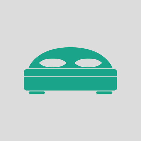 hotel bed: Hotel bed icon. Gray background with green. Vector illustration.