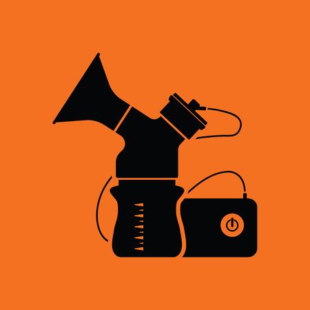 black breast: Electric breast pump icon. Orange background with black. Vector illustration.