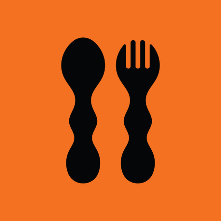 Baby spoon and fork icon. Orange background with black. Vector illustration. Illustration
