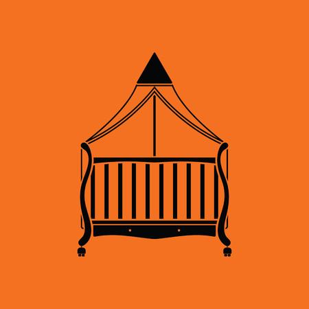 Cradle icon. Orange background with black. Vector illustration. Illustration