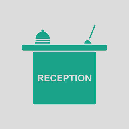 hotel reception: Hotel reception desk icon. Gray background with green. Vector illustration.