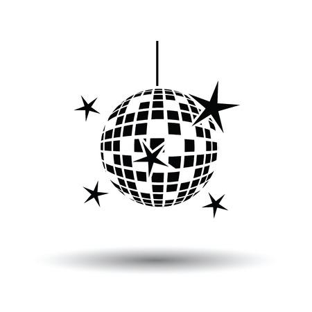 Night club discoteca sfera icona. Sfondo bianco con disegno ombra. Illustrazione vettoriale.