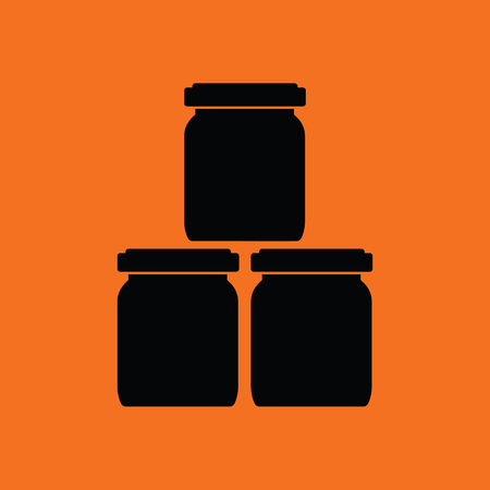 puree: Baby glass jars icon. Orange background with black. Vector illustration. Illustration