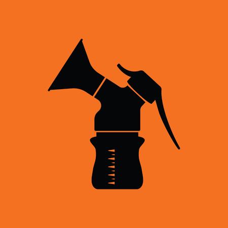 black breast: Breast pump icon. Orange background with black. Vector illustration.