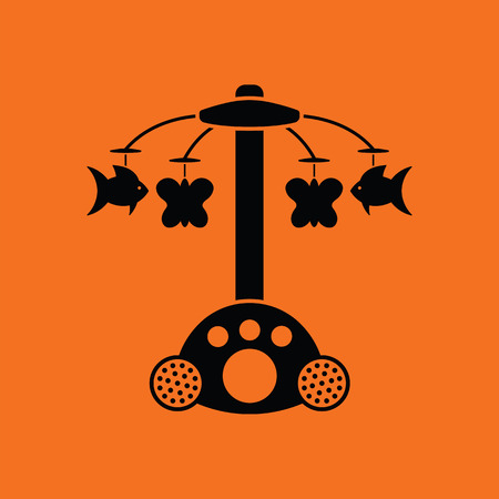lullaby: Baby carousel icon. Orange background with black. Vector illustration.