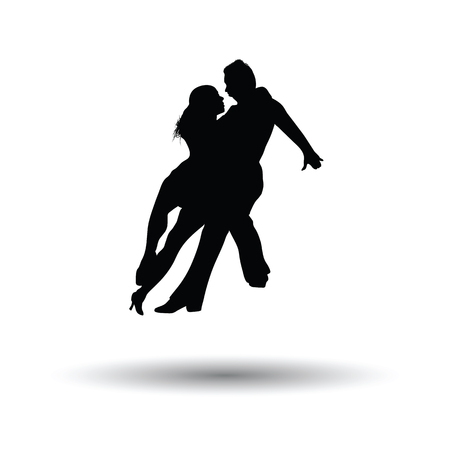 Dancing pair icon. White background with shadow design. Vector illustration.