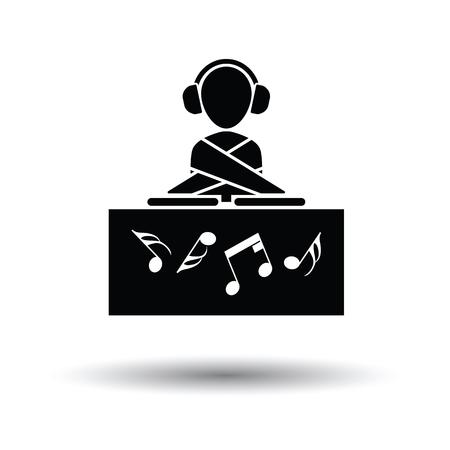 night club: Night club DJ icon. White background with shadow design. Vector illustration.