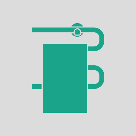 heated: Heated towel rail icon. Gray background with green. Vector illustration. Illustration