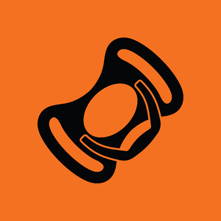 Baby soother icon. Orange background with black. Vector illustration.