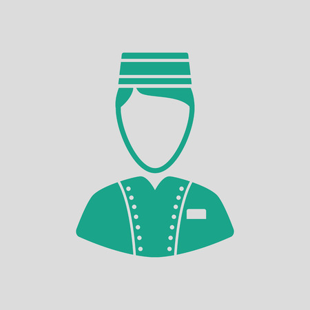 Hotel boy icon. Gray background with green. Vector illustration.