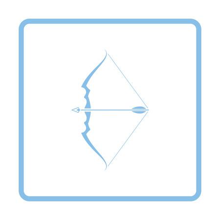 longbow: Bow with arrow icon. Blue frame design. Vector illustration. Illustration