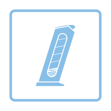 Gun magazine icon. Blue frame design. Vector illustration.