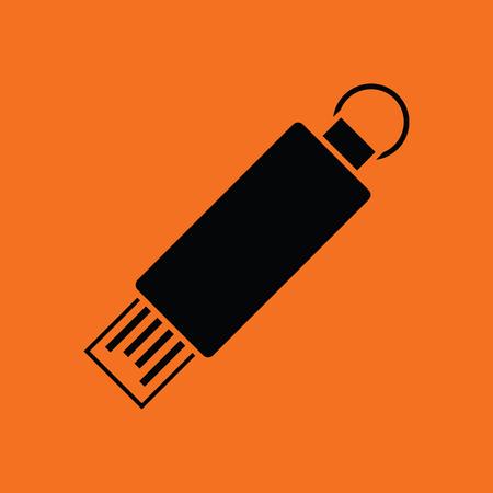 knickknack: USB flash icon. Orange background with black. Vector illustration. Illustration