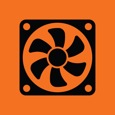 airflow: Fan icon. Orange background with black. Vector illustration. Illustration