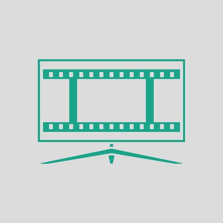 cinema screen: Cinema TV screen icon. Gray background with green. Vector illustration.