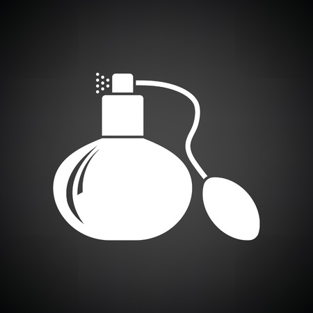 odors: Cologne spray icon. Black background with white. Vector illustration.