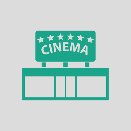performance art: Cinema entrance icon. Gray background with green. Vector illustration. Illustration