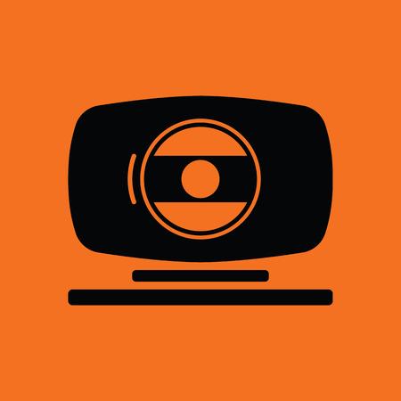 webcam: Webcam icon. Orange background with black. Vector illustration. Illustration