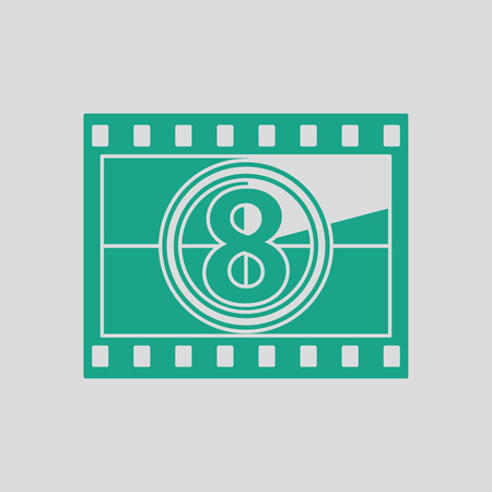 photo slide: Movie frame with countdown icon. Gray background with green. Vector illustration.
