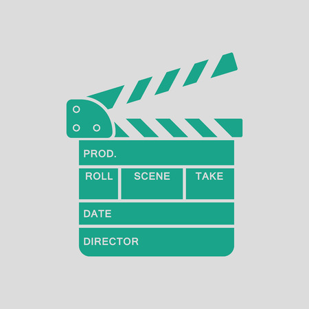 clap: Movie clap board icon. Gray background with green. Vector illustration. Illustration