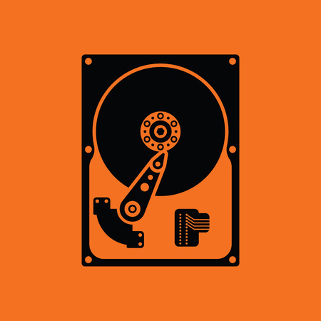 harddrive: HDD icon. Orange background with black. Vector illustration.