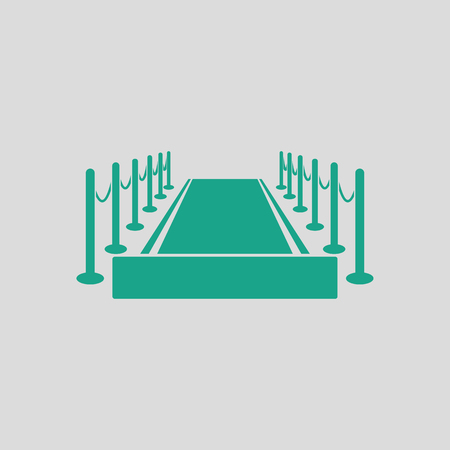Red carpet icon. Gray background with green. Vector illustration.