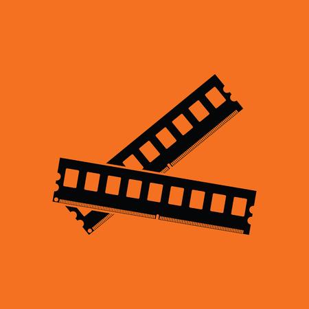 Computer memory icon. Orange background with black. Vector illustration. Illustration