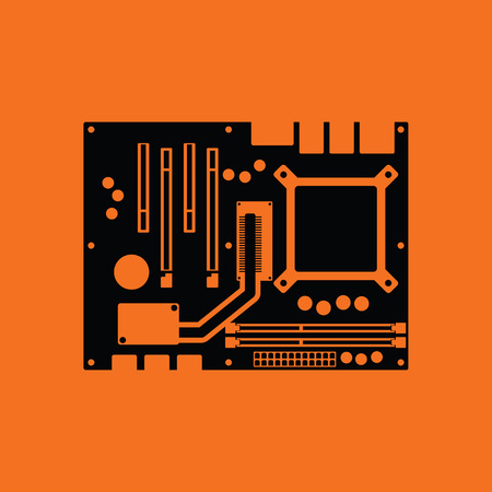capacitor: Motherboard icon. Orange background with black. Vector illustration. Illustration