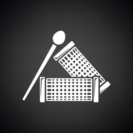 curler: Hair curlers icon. Black background with white. Vector illustration.